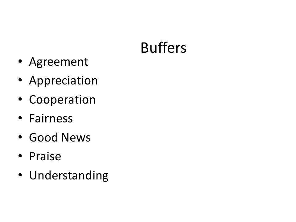 Buffers Agreement Appreciation Cooperation Fairness Good News Praise