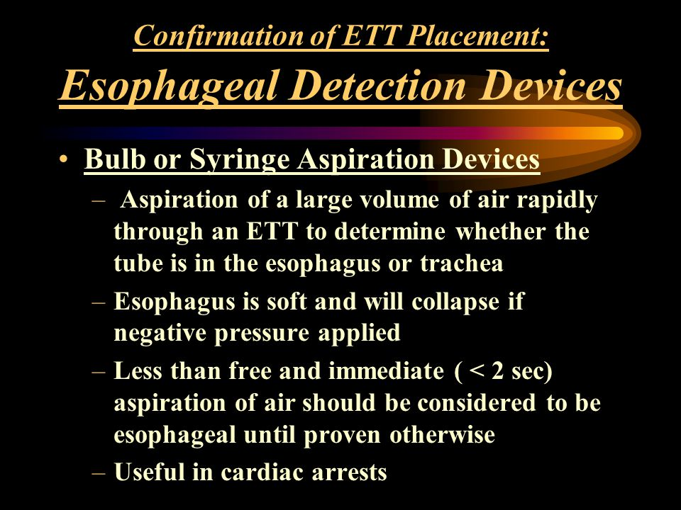 Confirmation of ETT Placement: Esophageal Detection Devices