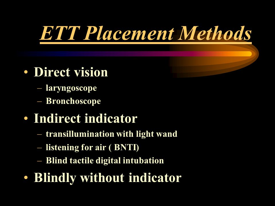 ETT Placement Methods Direct vision Indirect indicator