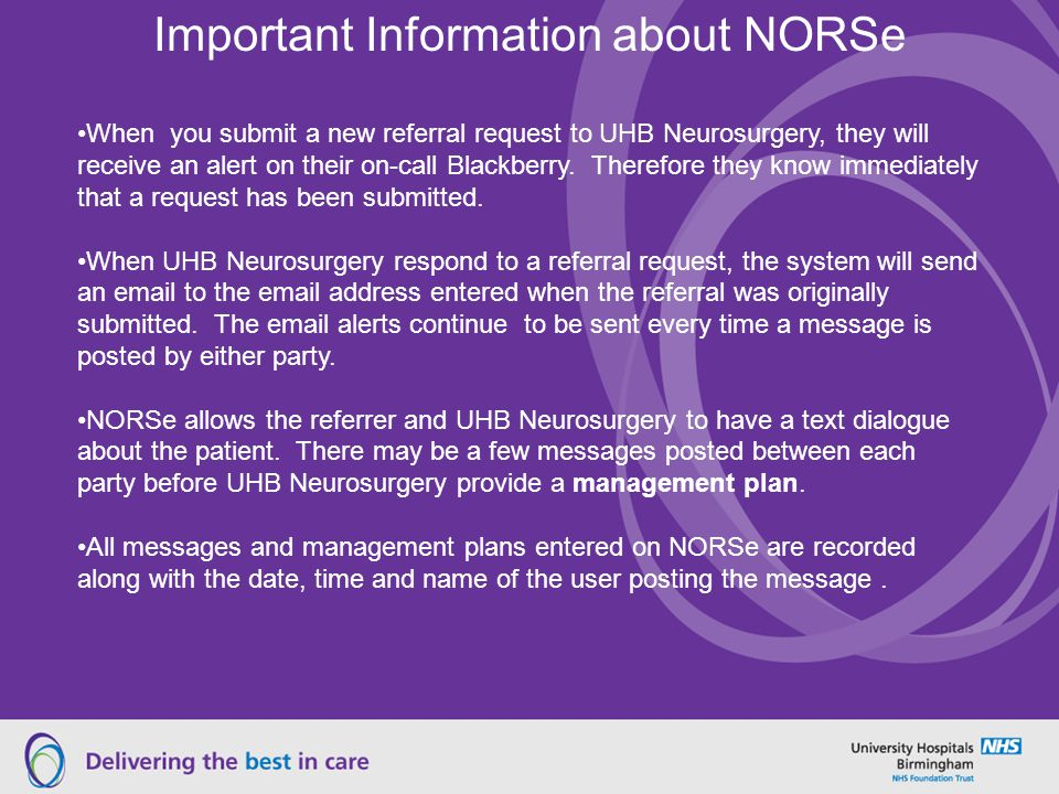 Important Information about NORSe