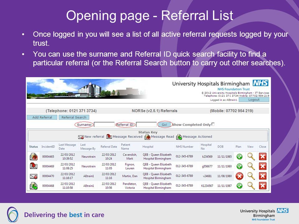 Opening page - Referral List