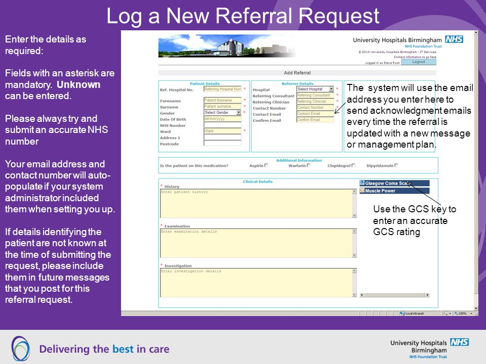 Log a New Referral Request