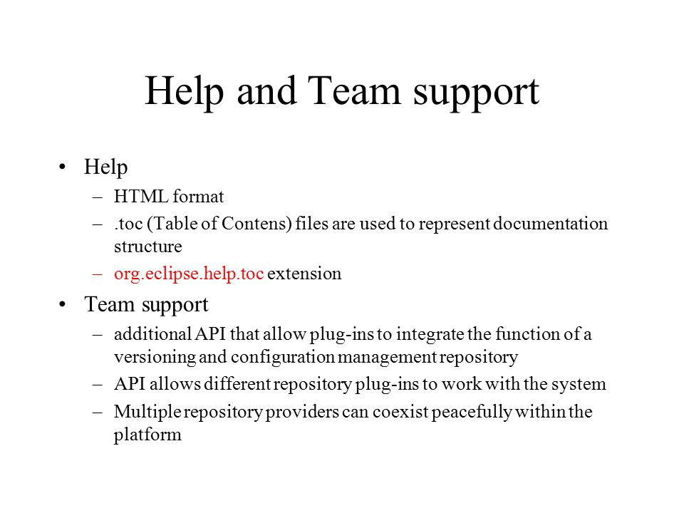Help and Team support Help Team support HTML format