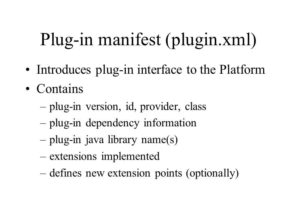 Plug-in manifest (plugin.xml)