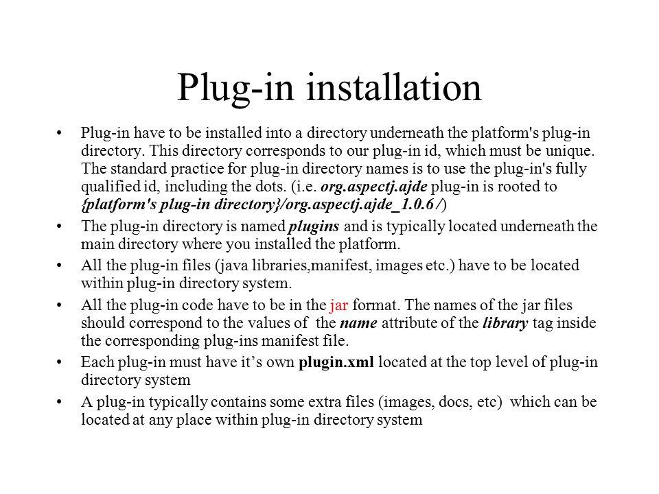 Plug-in installation