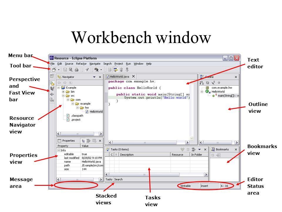Workbench window Menu bar Message area Editor Status Text editor