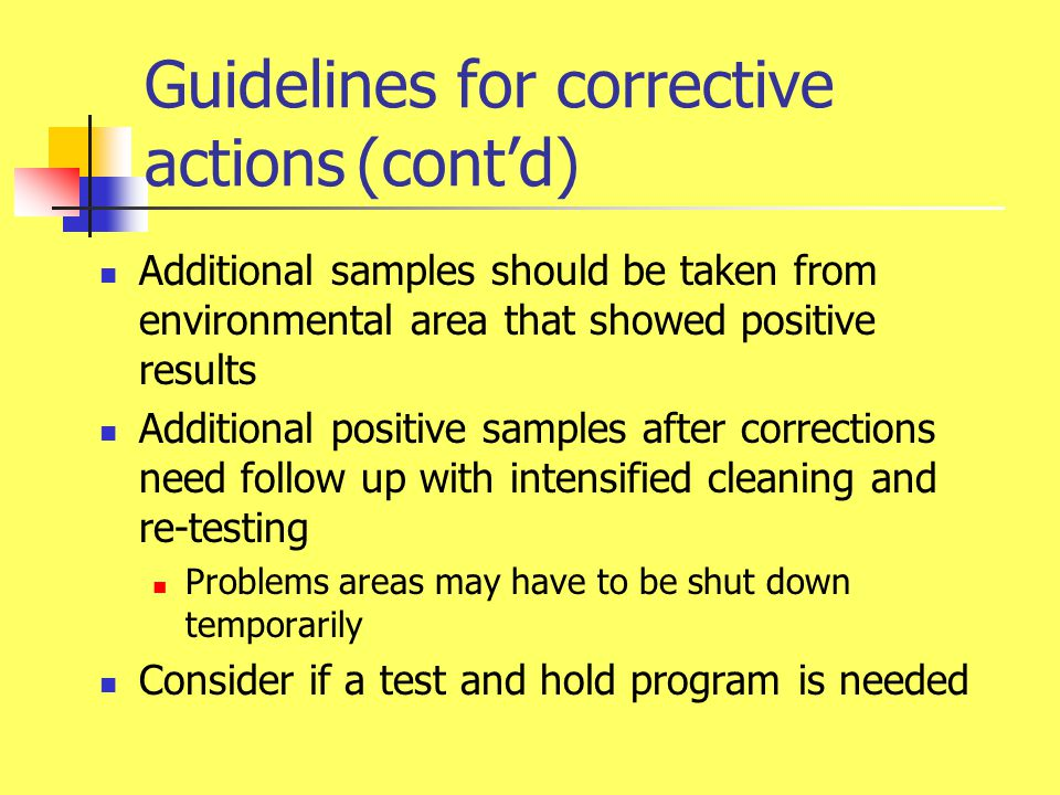 Guidelines for corrective actions (cont'd)