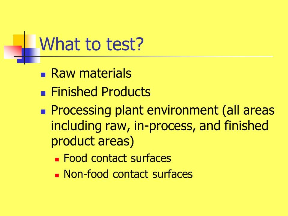 What to test Raw materials Finished Products