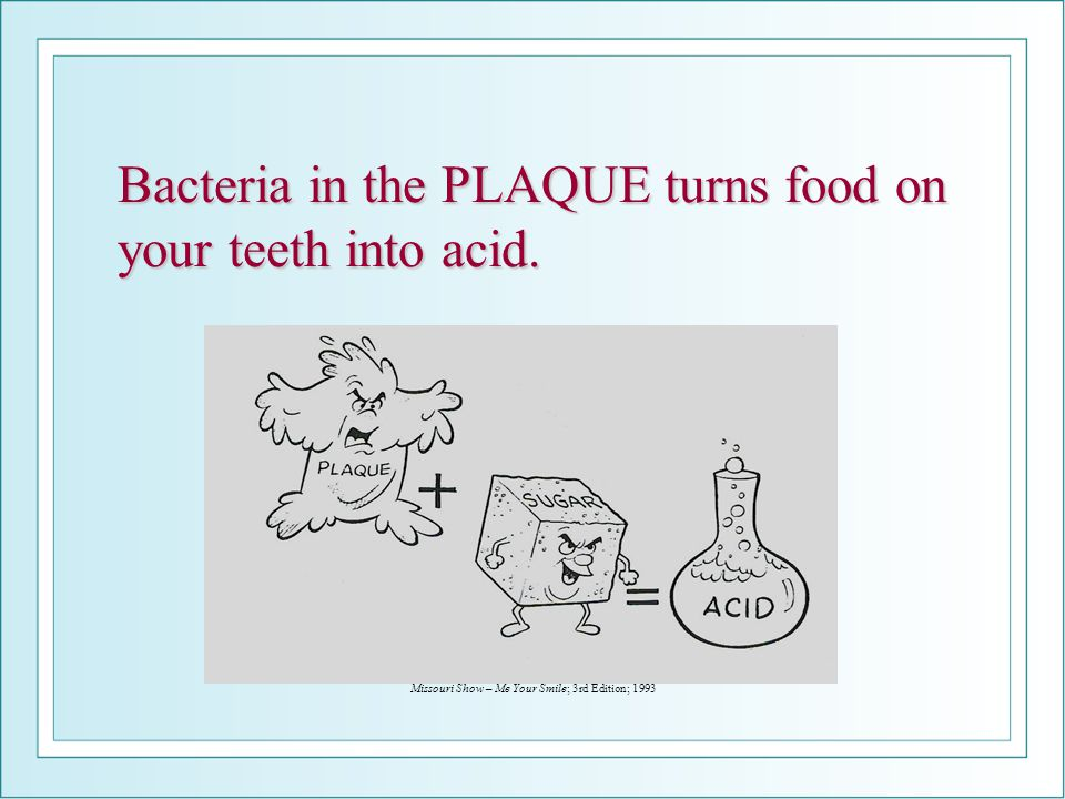 Bacteria in the PLAQUE turns food on your teeth into acid.