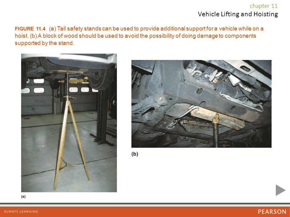 FIGURE 11.4 (a) Tall safety stands can be used to provide additional support for a vehicle while on a hoist.