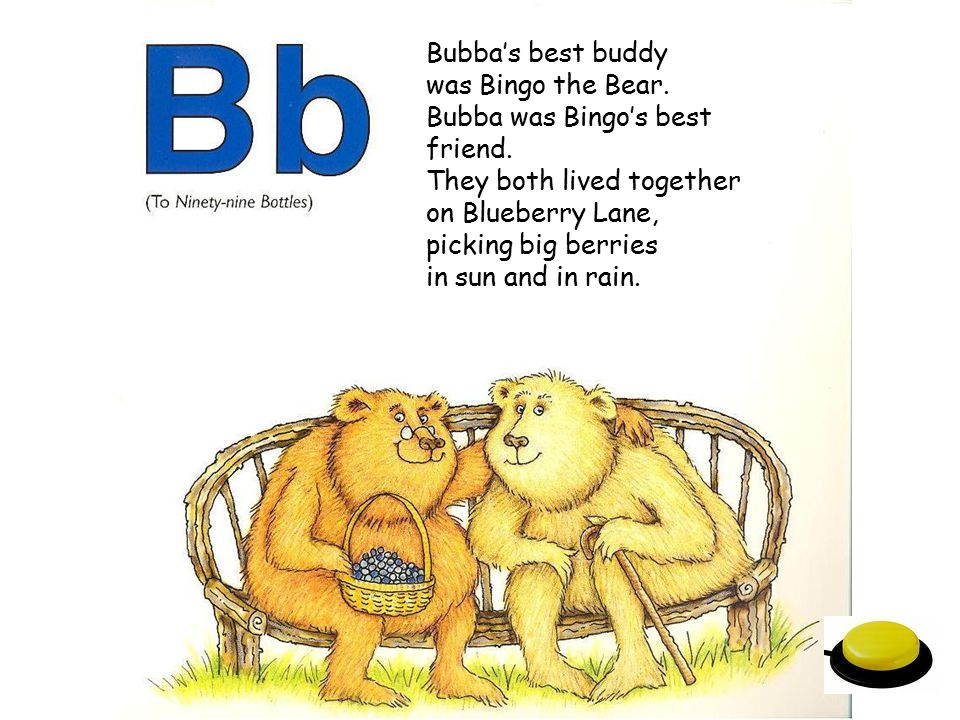 Bubba's best buddy was Bingo the Bear. Bubba was Bingo's best friend. They both lived together. on Blueberry Lane,