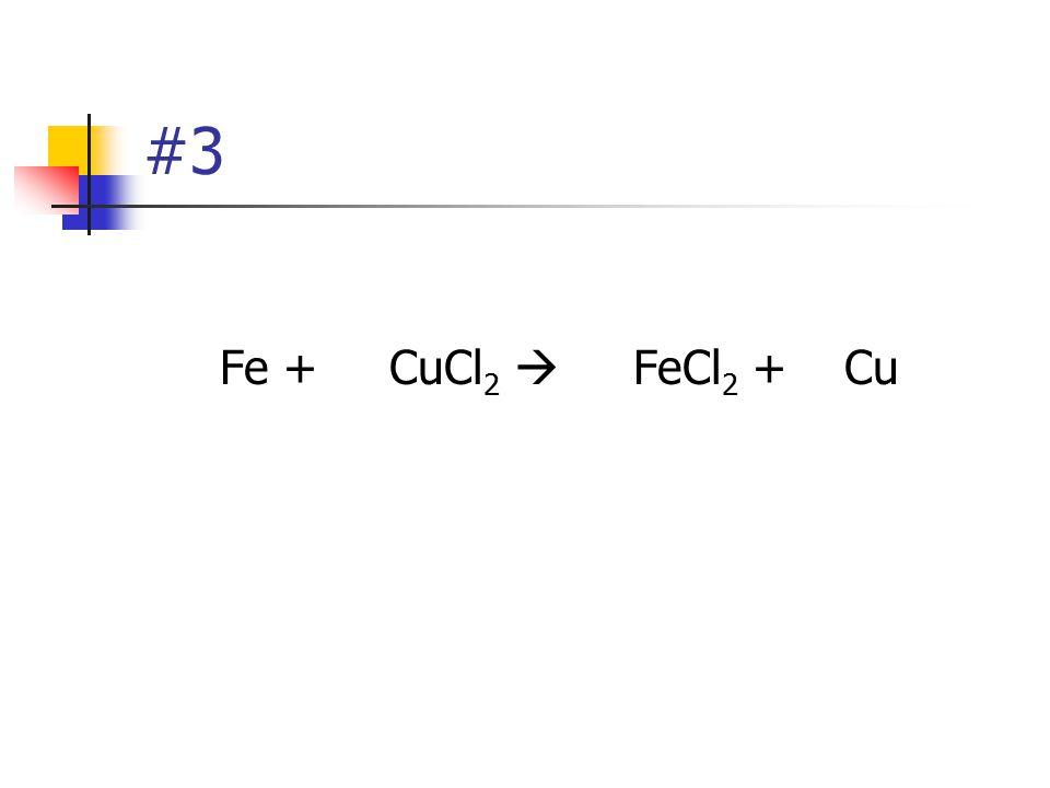#3 Fe + CuCl2  FeCl2 + Cu