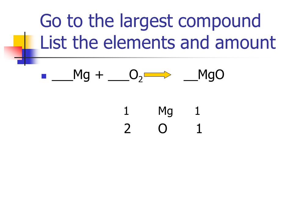 Go to the largest compound List the elements and amount