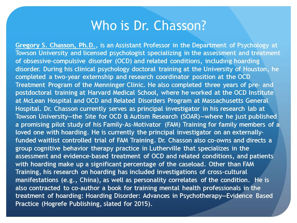 Who is Dr. Chasson