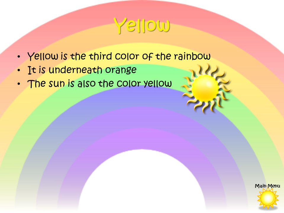 Yellow Yellow is the third color of the rainbow