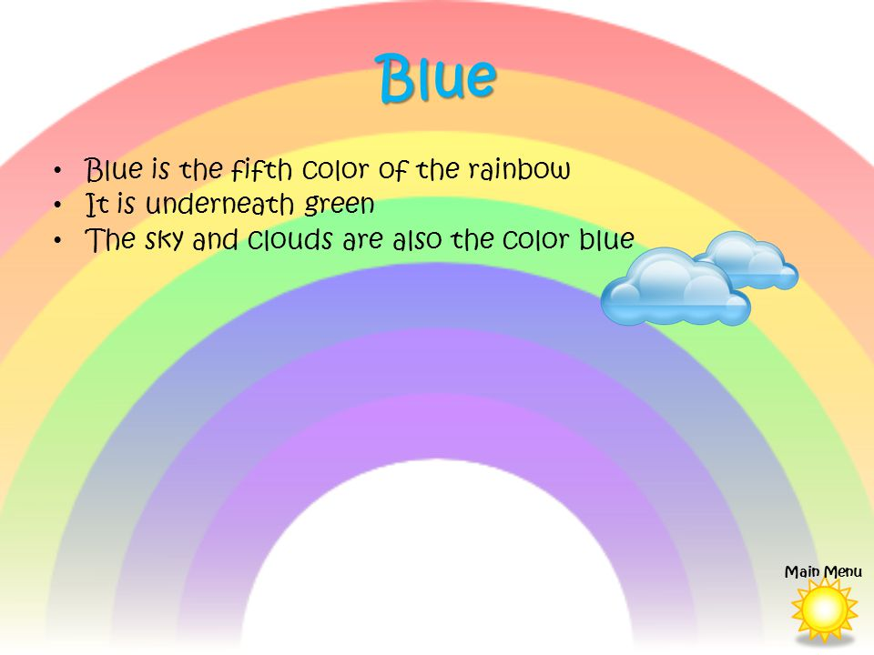 Blue Blue is the fifth color of the rainbow It is underneath green