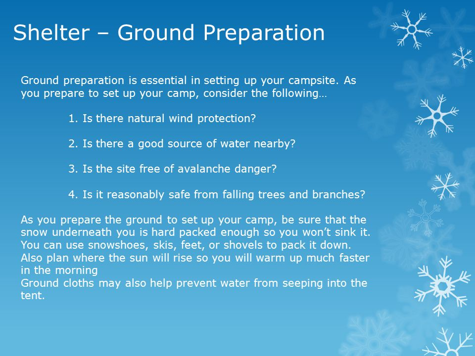 Shelter – Ground Preparation