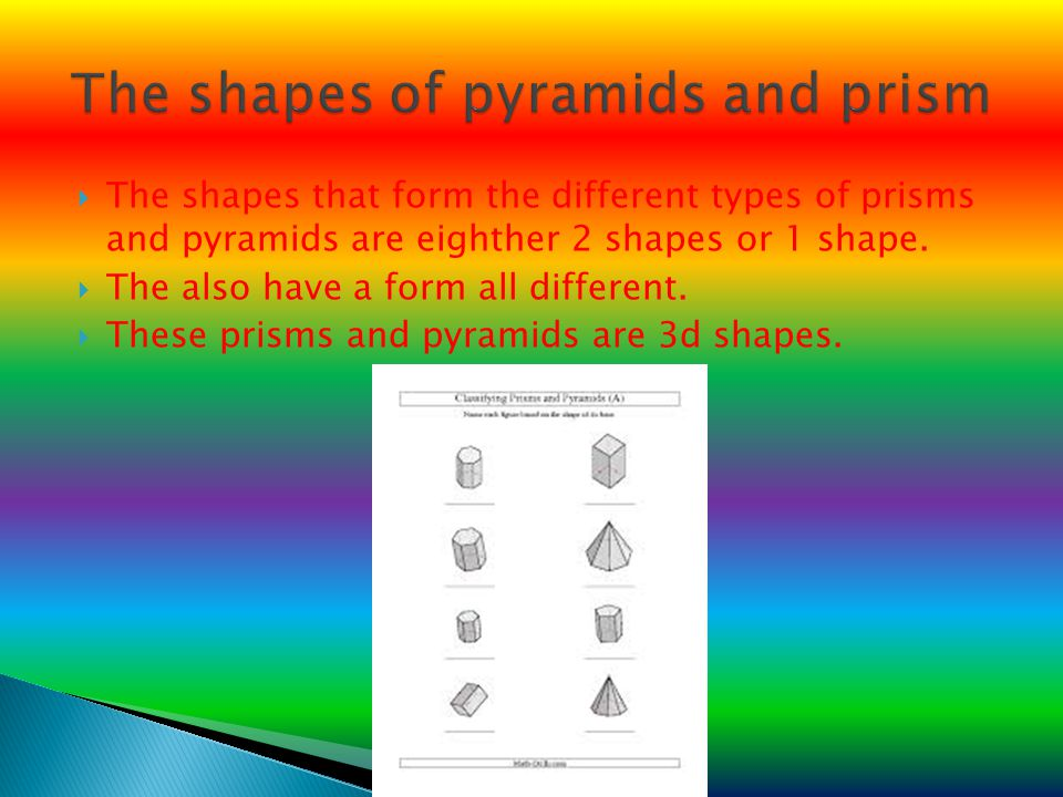 The shapes of pyramids and prism