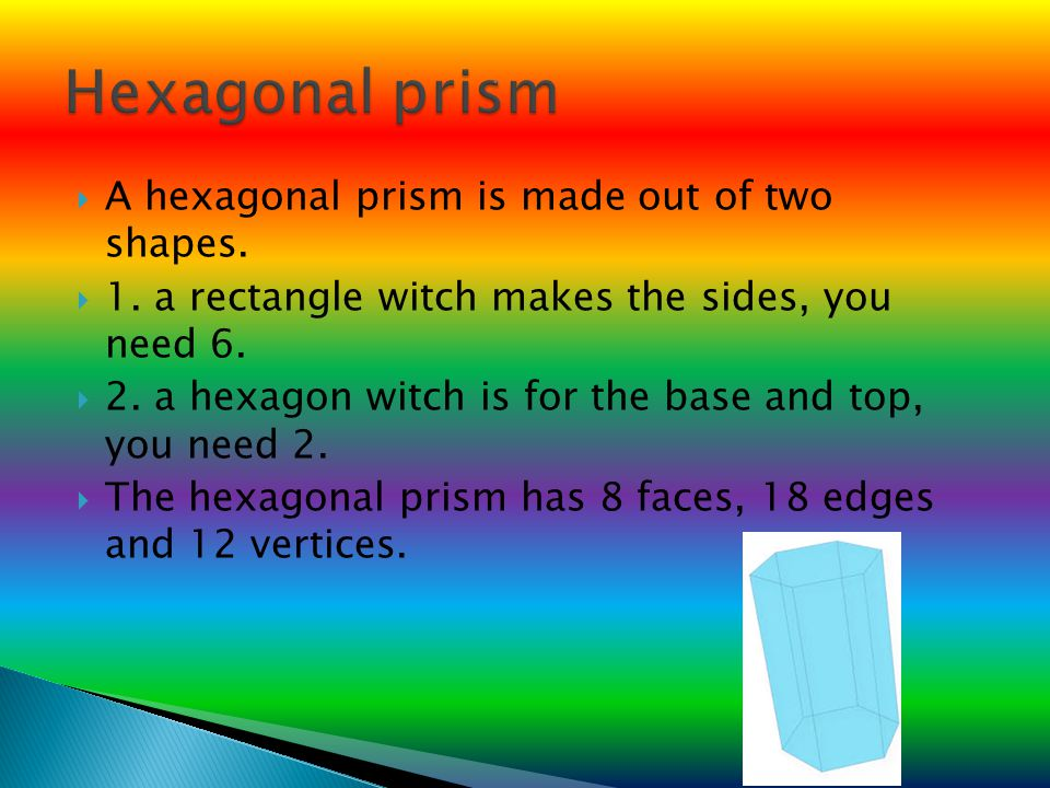 Hexagonal prism A hexagonal prism is made out of two shapes.