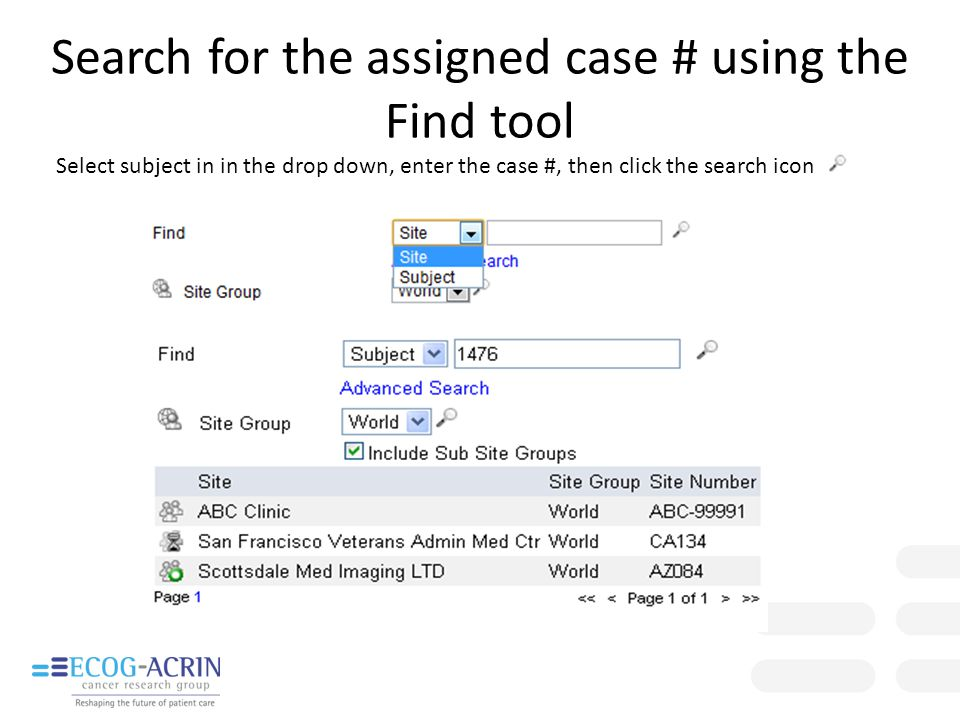 Search for the assigned case # using the Find tool