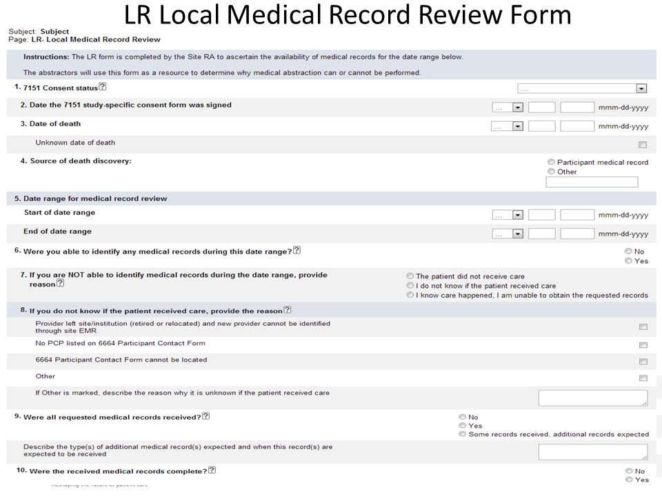 LR Local Medical Record Review Form