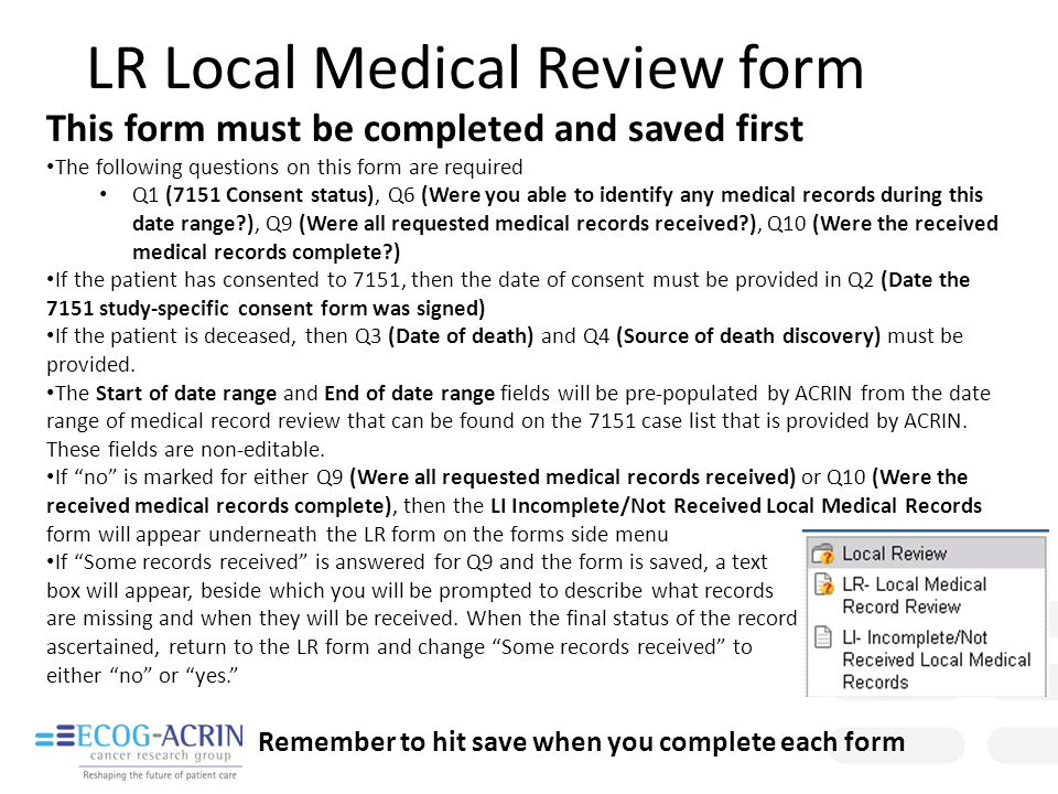 LR Local Medical Review form