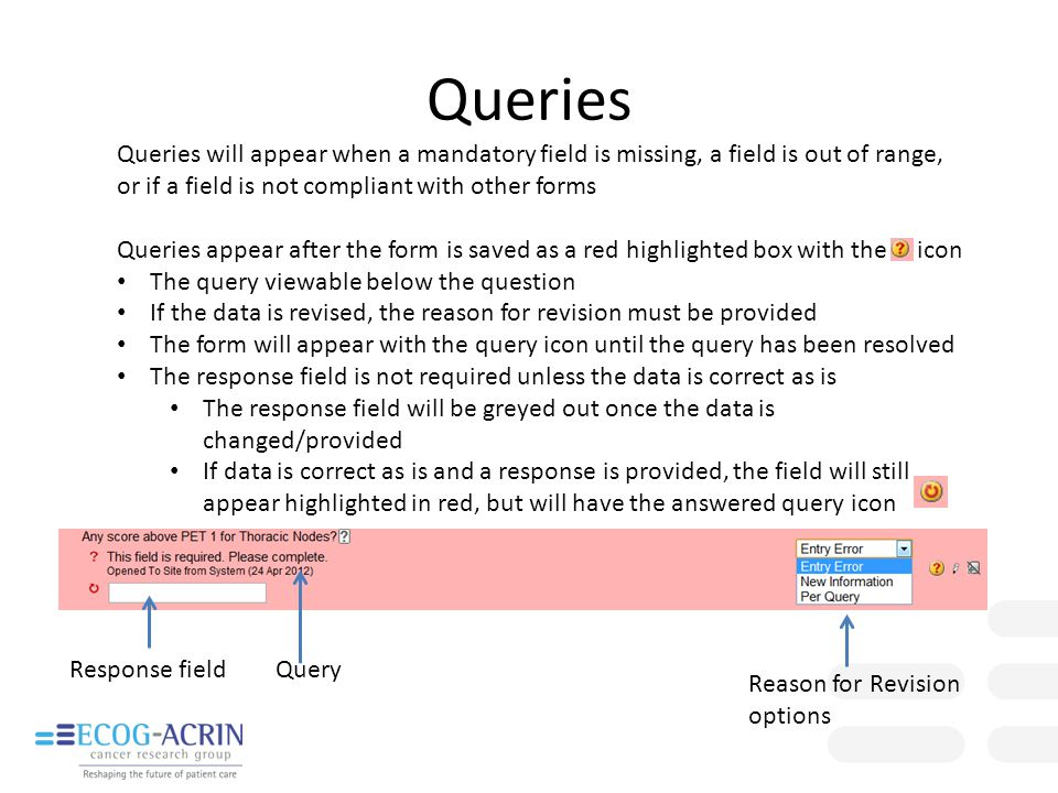 Queries Queries will appear when a mandatory field is missing, a field is out of range, or if a field is not compliant with other forms.