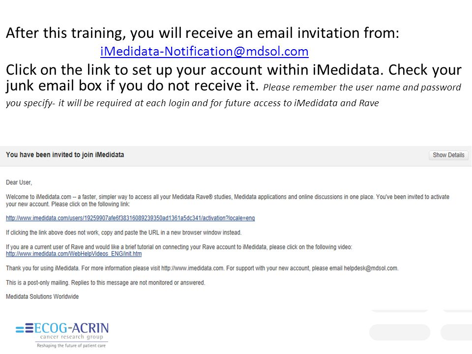 After this training, you will receive an email invitation from: