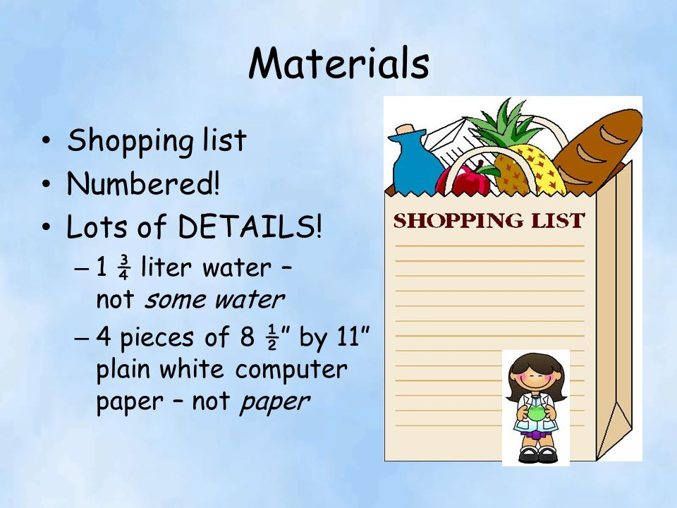 Materials Shopping list Numbered! Lots of DETAILS!