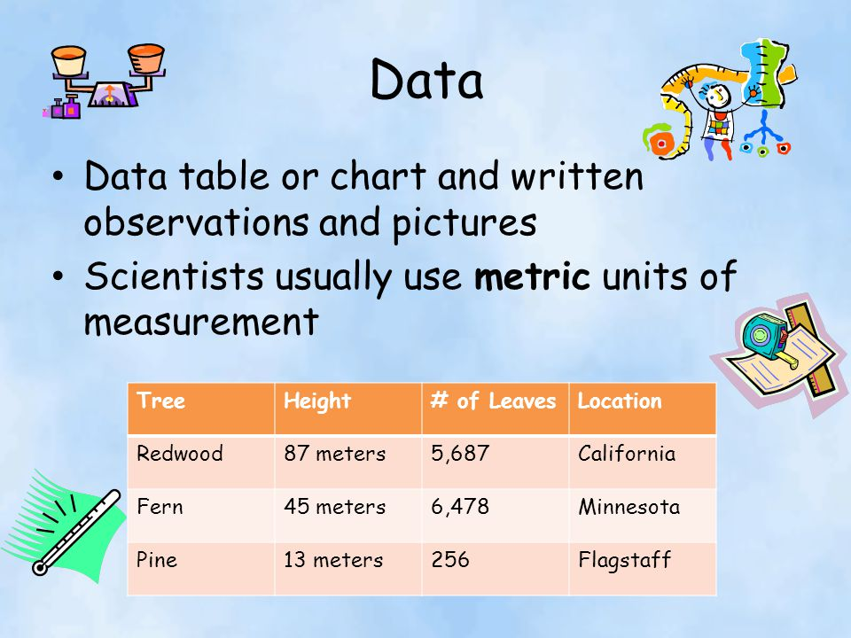 Data Data table or chart and written observations and pictures