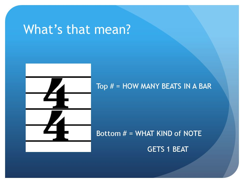 What's that mean Top # = HOW MANY BEATS IN A BAR