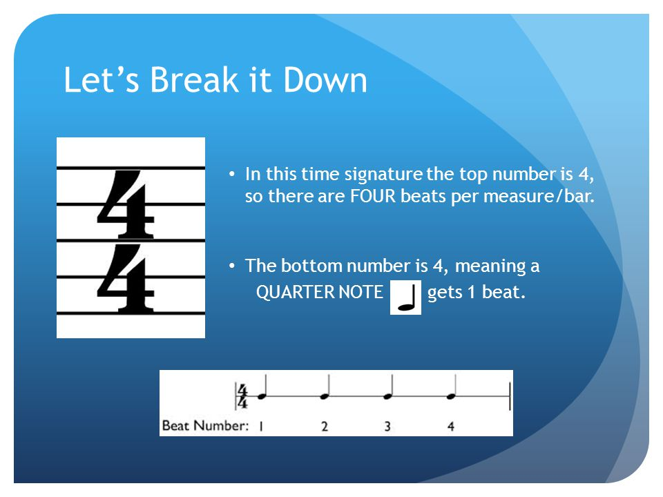 Let's Break it Down In this time signature the top number is 4, so there are FOUR beats per measure/bar.