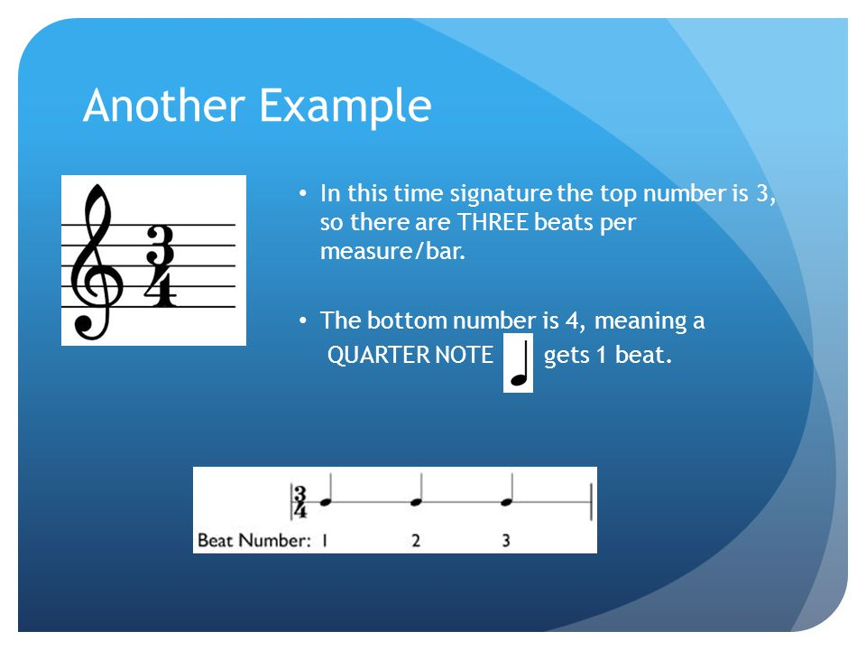 Another Example In this time signature the top number is 3, so there are THREE beats per measure/bar.