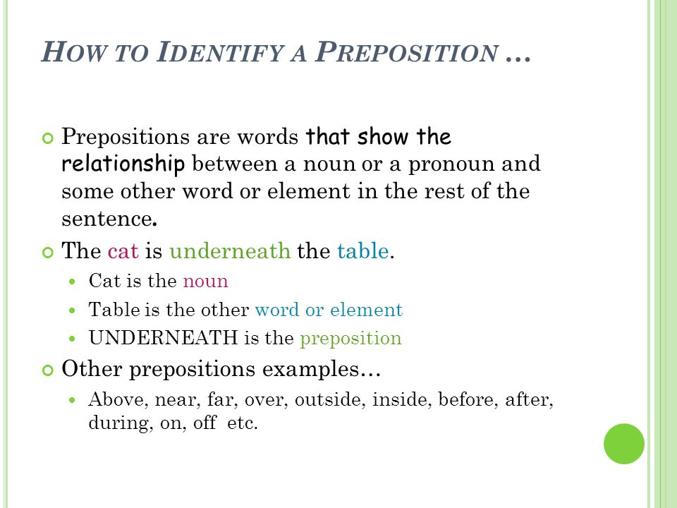 How to Identify a Preposition …