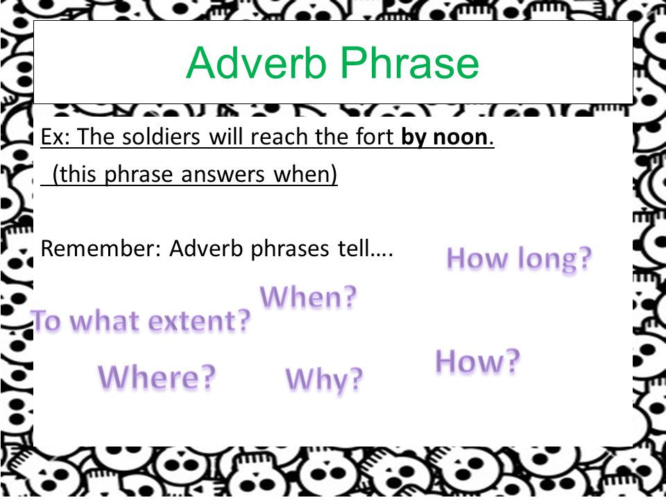Adverb Phrase How Where How long When To what extent Why