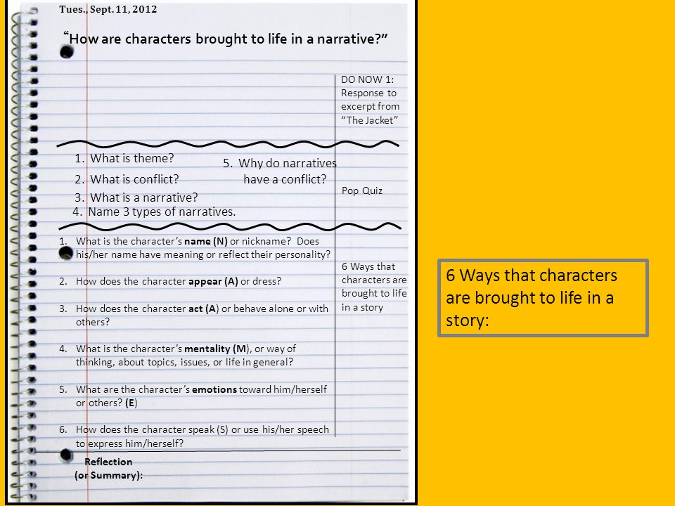 How are characters brought to life in a narrative
