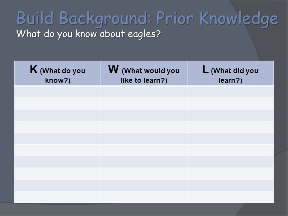 Build Background: Prior Knowledge What do you know about eagles