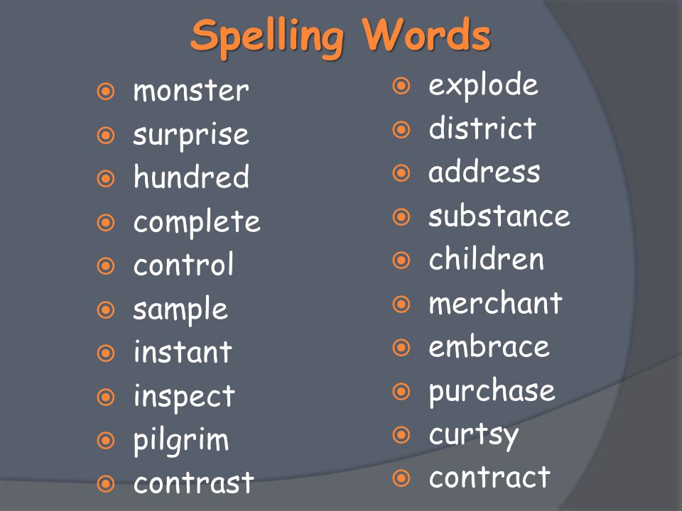 Spelling Words explode monster district surprise address hundred