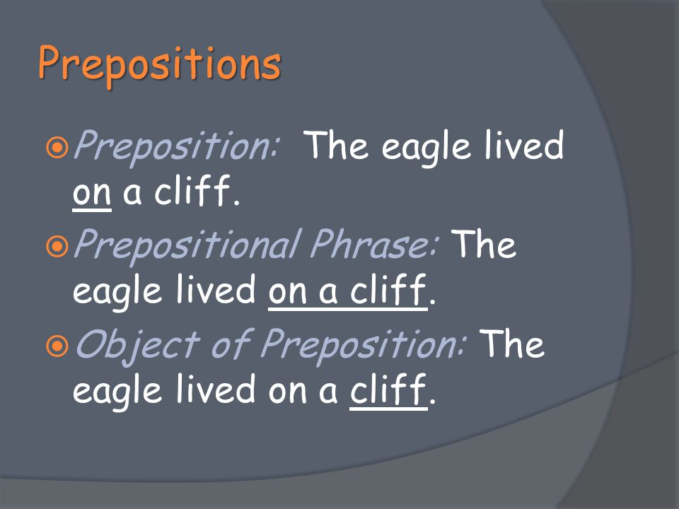 Prepositions Preposition: The eagle lived on a cliff.