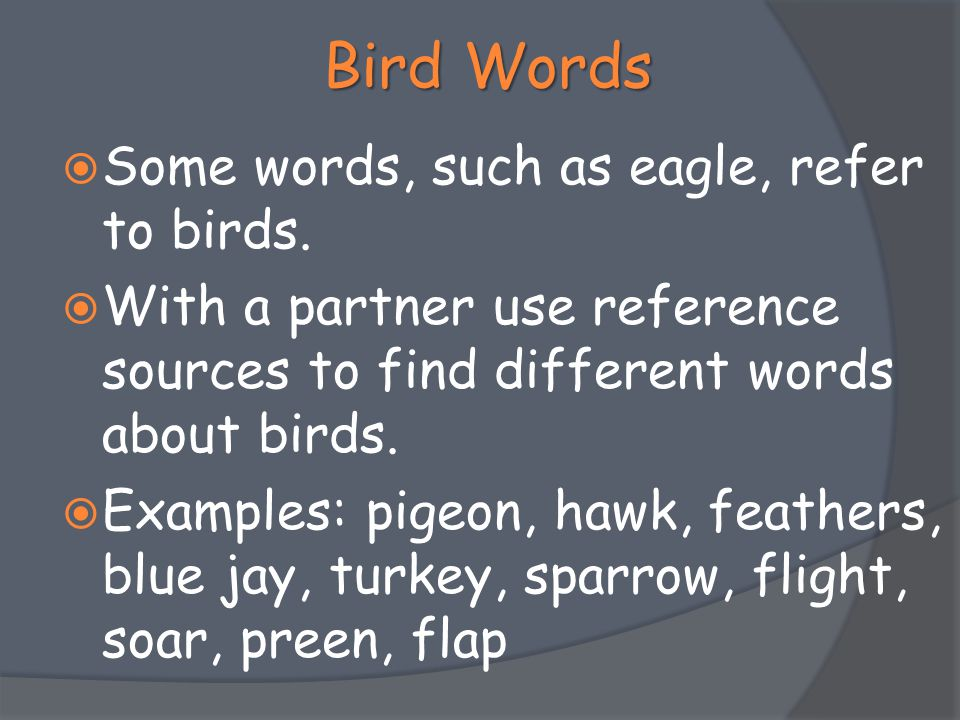 Bird Words Some words, such as eagle, refer to birds.