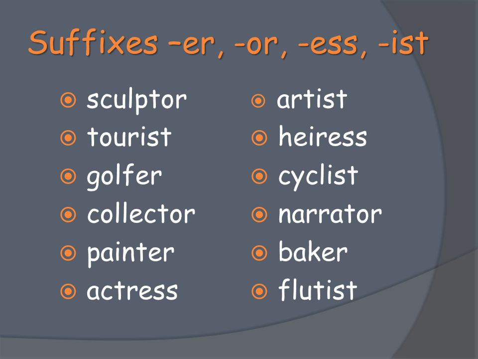 Suffixes –er, -or, -ess, -ist