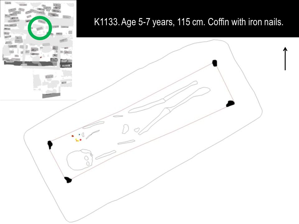 K1133. Age 5-7 years, 115 cm. Coffin with iron nails.