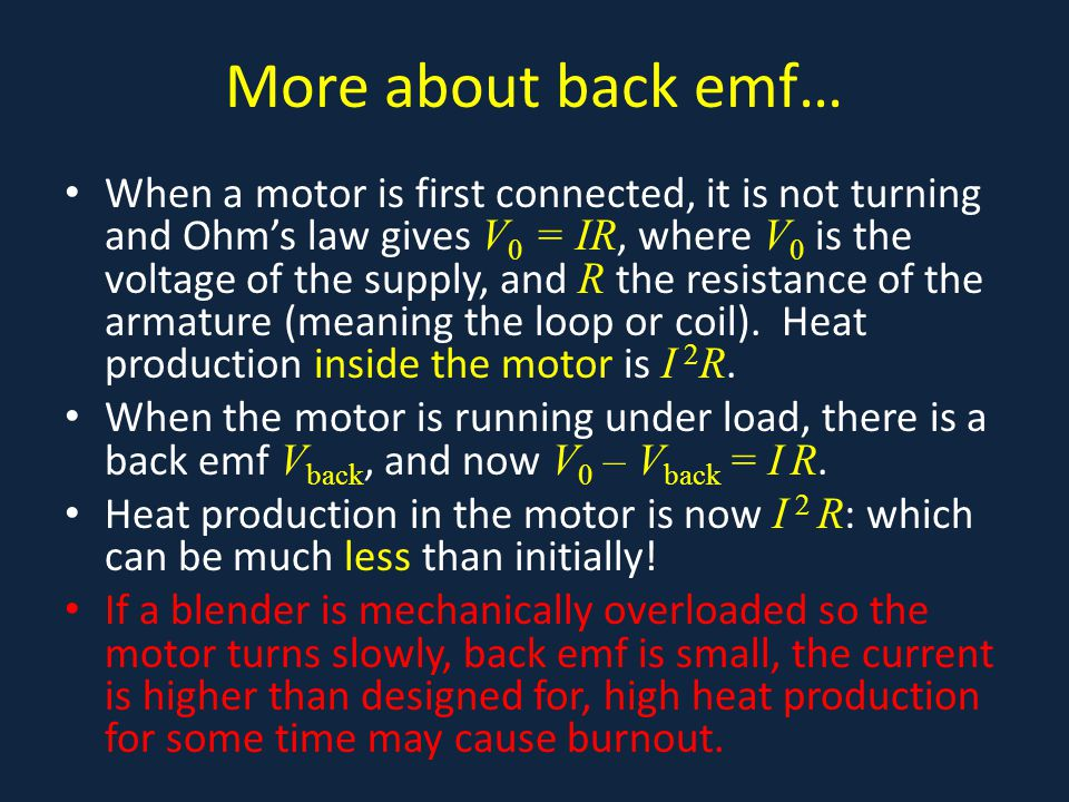 More about back emf…