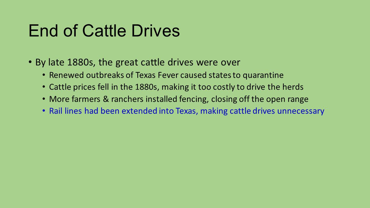End of Cattle Drives By late 1880s, the great cattle drives were over