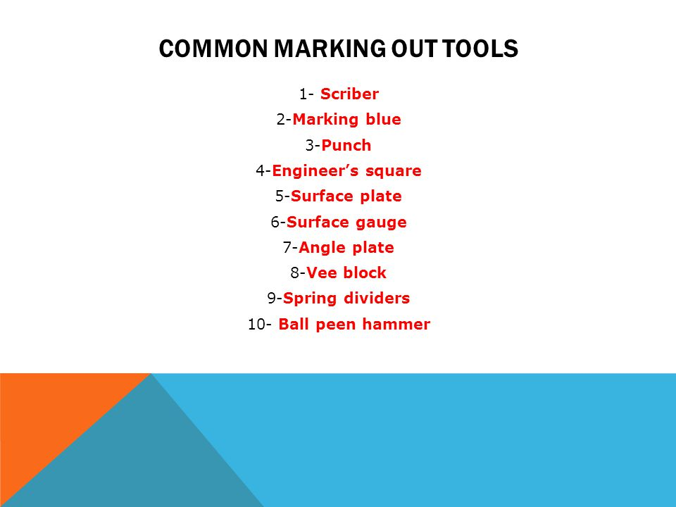 Common marking out tools
