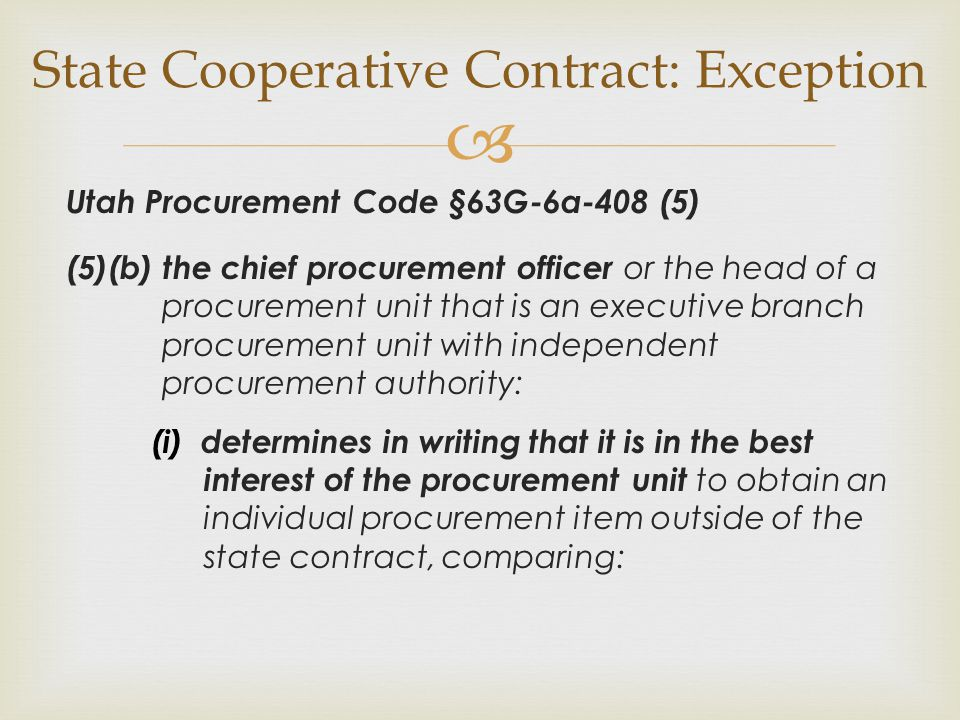 State Cooperative Contract: Exception