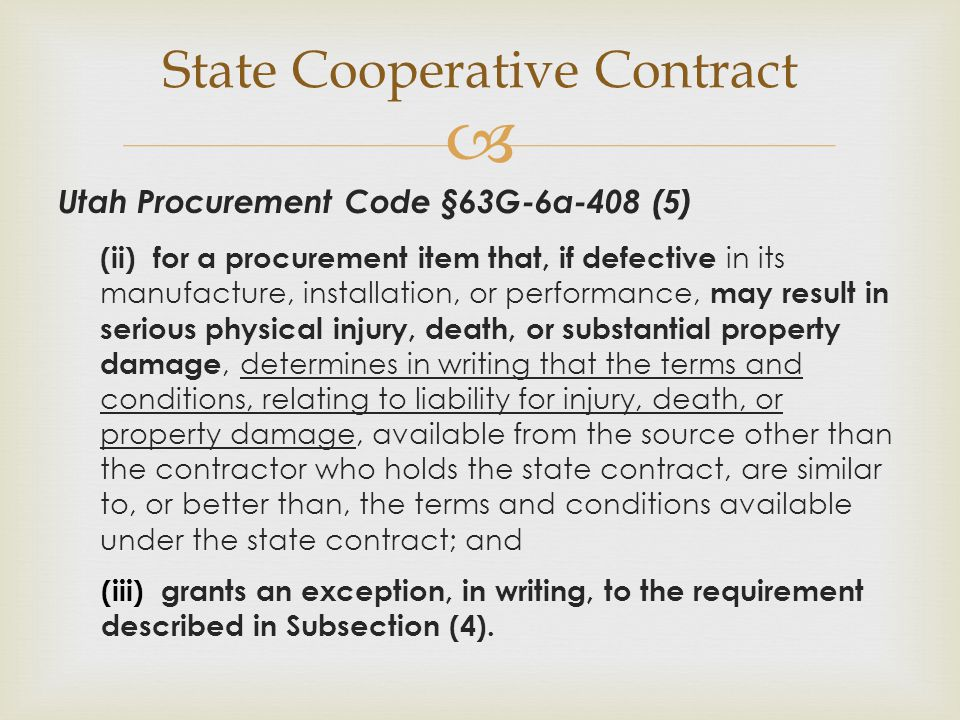 State Cooperative Contract
