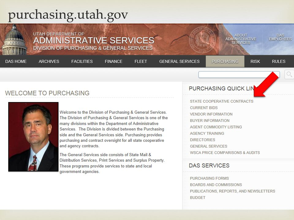 purchasing.utah.gov How to find an item on a state cooperative contract.