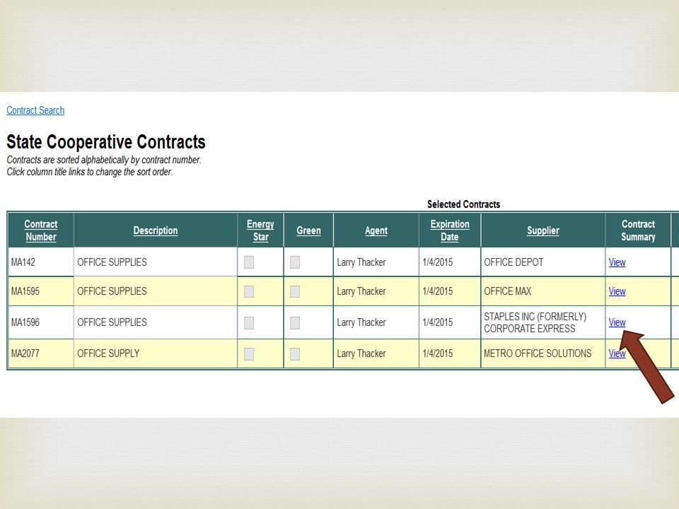 To see a summary of the contract, click View in the contract summary column for the contract that you want to use.