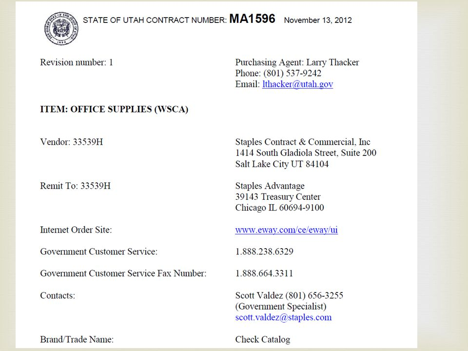 This slide displays the top of the first page of the contract summary for the Staples contract.